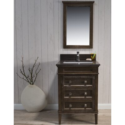 Briese Traditional 25 Single Bathroom Vanity Set with Mirror Base Finish: Black/Red Oak