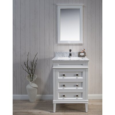 Briese 25 Single Bathroom Vanity Set with Mirror Base Finish: Matte White