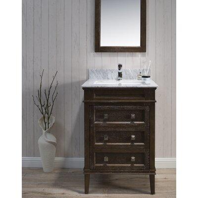Briese 25 Single Bathroom Vanity Set with Mirror Base Finish: Black/Red Oak