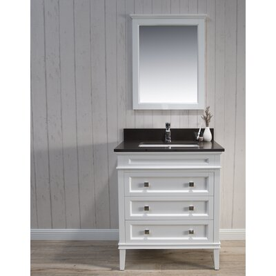 Briese Traditional 31 Single Bathroom Vanity Set with Mirror Base Finish: Matte White