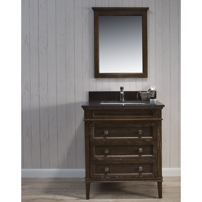 Briese Traditional 31 Single Bathroom Vanity Set with Mirror Base Finish: Black/Red Oak