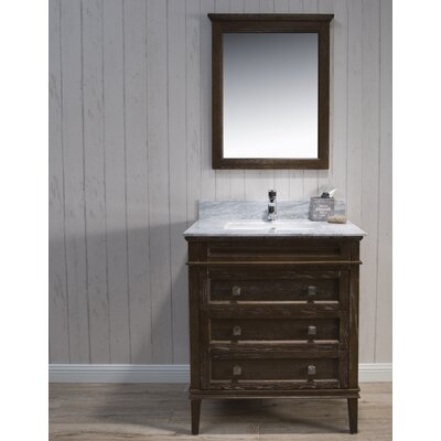 Briese 31 Single Bathroom Vanity Set with Mirror Base Finish: Black/Red Oak