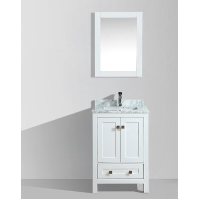 Brier 24 Single Bathroom Vanity Set with Mirror Base Finish: White