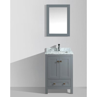 Brier 24 Single Bathroom Vanity Set with Mirror Base Finish: Charcoal Gray
