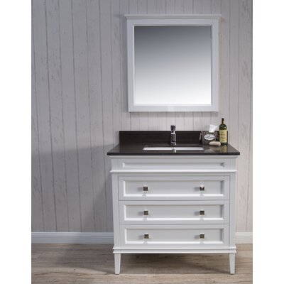 Briese Traditional 37 Single Bathroom Vanity Set with Mirror Base Finish: Matte White