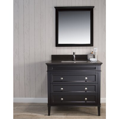 Briese Traditional 37 Single Bathroom Vanity Set with Mirror Base Finish: Espresso