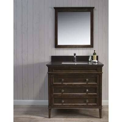 Briese Traditional 37 Single Bathroom Vanity Set with Mirror Base Finish: Black/Red Oak