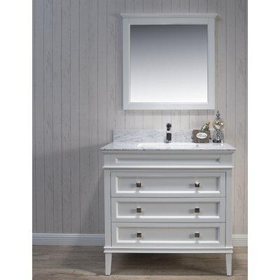 Briese 37 Single Bathroom Vanity Set with Mirror Base Finish: Matte White