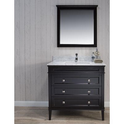 Briese 37 Single Bathroom Vanity Set with Mirror Base Finish: Espresso