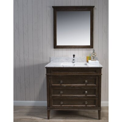 Briese 37 Single Bathroom Vanity Set with Mirror Base Finish: Black/Red Oak