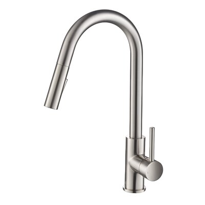 Pull Down Single Handle Kitchen Faucet Finish: Brush Nickel