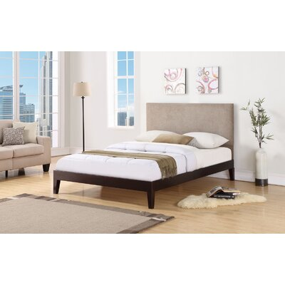 Wroten Upholstered Bed Size: King, Color: Espresso, Upholstery: Taupe