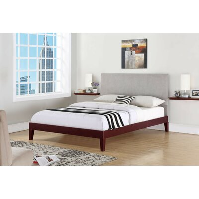 Wroten Upholstered Bed Size: Queen, Color: Cherry, Upholstery: Gray