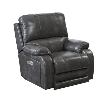 Thornton No Motion Power Recliner Body Fabric: Steel, Lumbar Support: No