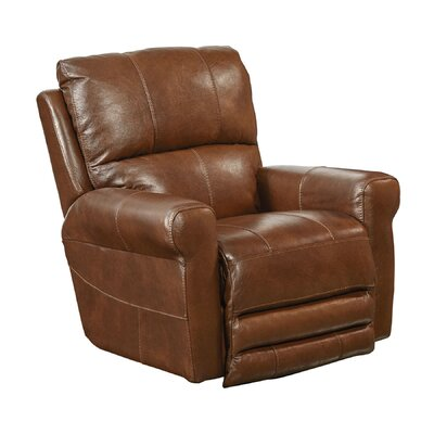 Hoffner Leather Glider Recliner Body Fabric: Chestnut, Reclining Type: Power