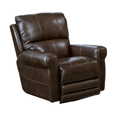 Hoffner Leather Glider Recliner Body Fabric: Chocolate, Reclining Type: Manual