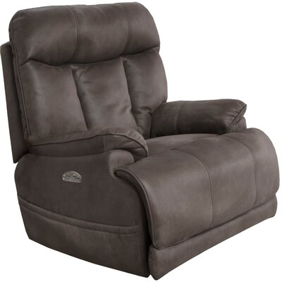 Amos No Motion Power Recliner Body Fabric: Charcoal, Lumbar Support: Yes