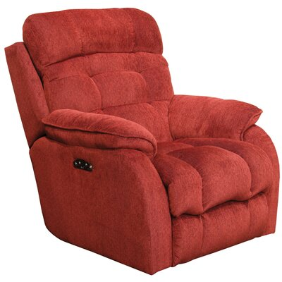 Crowley No Motion Power Recliner Body Fabric: Merlot, Lumbar Support: No