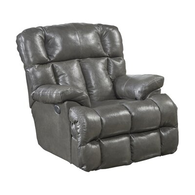 Victor Leather Rocker Recliner Body Fabric: Steel, Reclining Type: Power