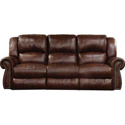 Messina Reclining Sofa Body Fabric: Walnut, Lumbar Support: Yes