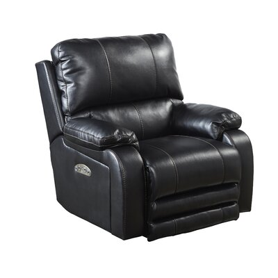 Thornton No Motion Power Recliner Body Fabric: Black, Lumbar Support: No