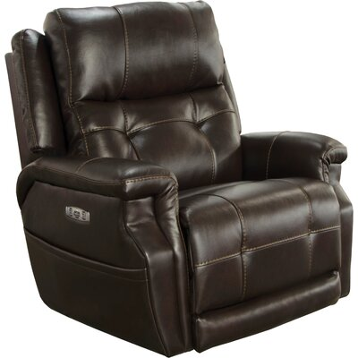 Kepley No Motion Power Recliner Body Fabric: Espresso, Lumbar Support: Yes