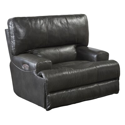 Wembley No Motion Recliner Body Fabric: Steel, Reclining Type: Power, Lumbar Support: Yes