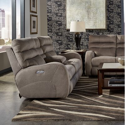 Kelsey Reclining Loveseat Body Fabric: Aluminum, Lumbar Support: Yes