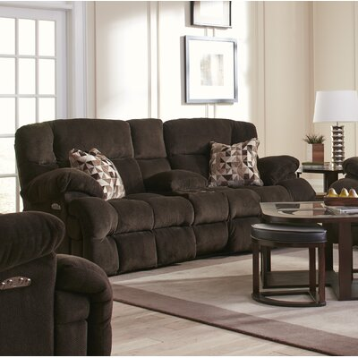 Brice Reclining Loveseat Body Fabric: Chocolate/Truffle, Lumbar Support: No