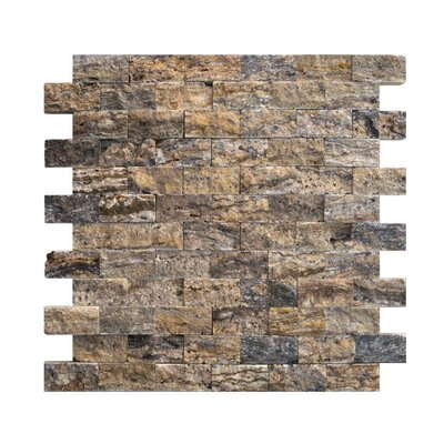 1 x 2 Natural Stone Mosaic Splitface Tile in Alpine