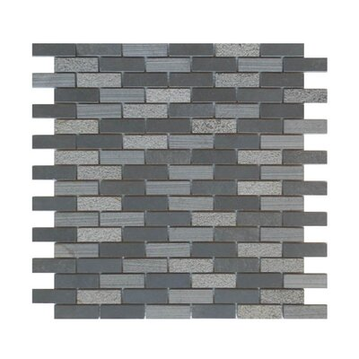 0.63 x 2 Natural Stone Mosaic Tile in Black