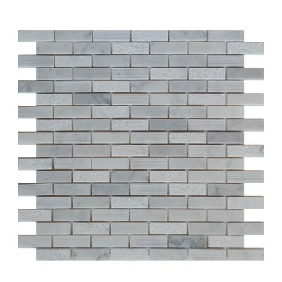 0.63 x 2 Natural Stone Mosaic Tile in Carrara