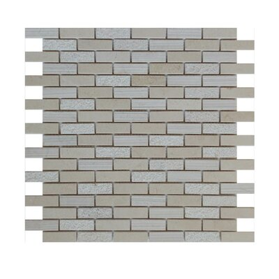 0.63 x 2 Natural Stone Mosaic Tile in Crema Marfil