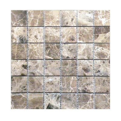 Polished 2 x 2 Natural Stone Mosaic Tile in Dark Emprador
