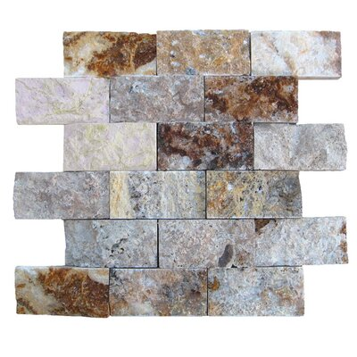 2 x 4 Natural Stone Mosaic Splitface Tile in Fantastico