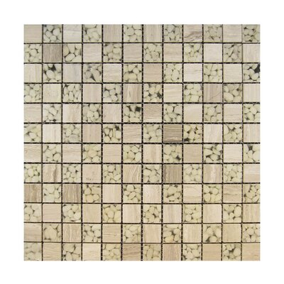 1 x 1 Glass Mosaic Tile in Beige