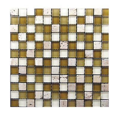 1 x 1 Glass Mosaic Tile in Brown/White
