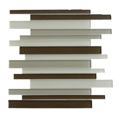 Glass Mosaic Tile in Brown/White