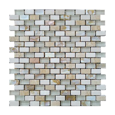 Glass Mosaic Tile in Gray/Beige