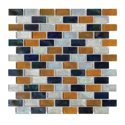 1 x 2 Glass Mosaic Tile in Gray/Orange/Black