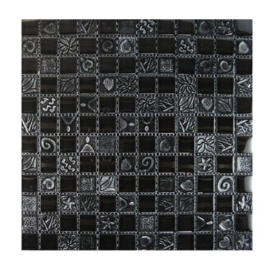 Glass Mosaic Tile in Black GLASS MOSAICS:GLASS/RL-001