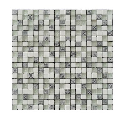".63"" X .63"" Glass Mosaic Tile Gray/beige"