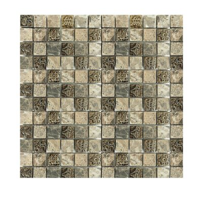 1 x 1 Glass Mosaic Tile in Brown/Ivory