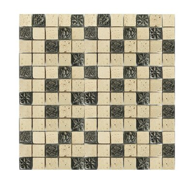 Glass Mosaic Tile in Beige/Black
