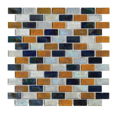Glass Mosaic Tile in Black/Orange/Blue