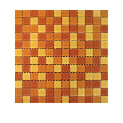 Glass Mosaic Tile in Red/Orange