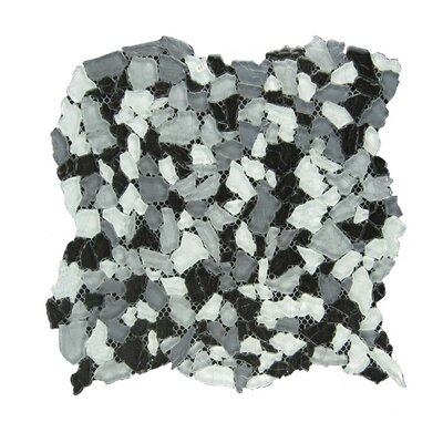 Glass Mosaic Tile in Gray/White