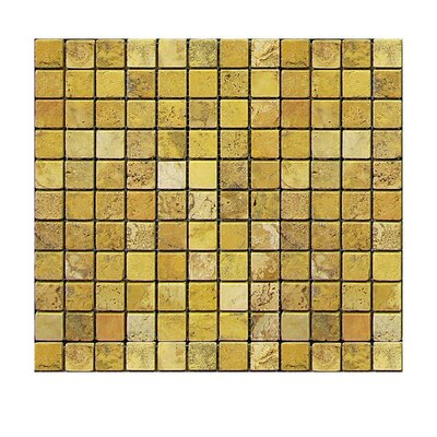 Tumbled 1 x 1 Natural Stone Mosaic Tile in Gold