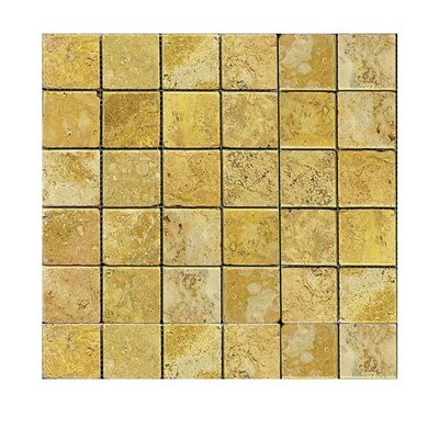 Tumbled 2 x 2 Natural Stone Mosaic Tile in Gold