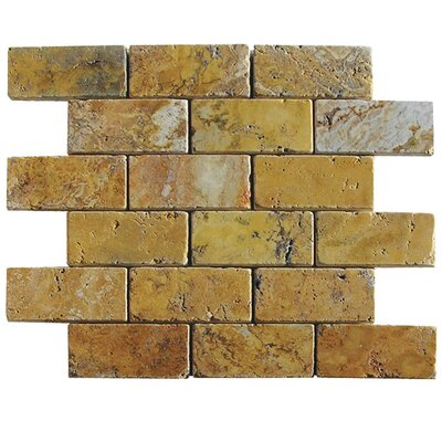Tumbled 2 x 4 Natural Stone Mosaic Tile in Gold